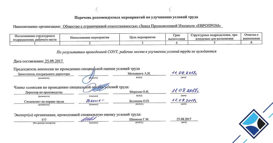 Сведения по ФЗ - №426 «СОУТ»